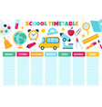 school timetable learnings classes scheduling vector image vector image