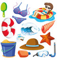 set isolated objects theme summer holiday vector image vector image