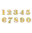 set of floral yellow numbers vector image vector image