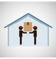 silhouette team worker box storage vector image vector image