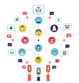 social network concept global communication vector image