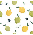 summer seamless pattern with lemons and leaves vector image vector image