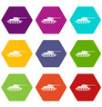 tank icon set color hexahedron vector image vector image