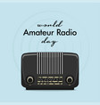 vintage international radio day banner on light vector image