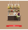 Visitors drink beer in a bar Restaurant interior vector image vector image
