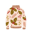 warm sweater decorated with holly berries leaves vector image vector image