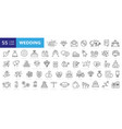 wedding line icons set vector image vector image
