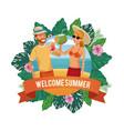 welcome summer cartoon vector image