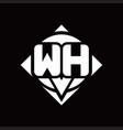 wh logo monogram with circle shape and square vector image vector image