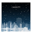 winter night in cardiff night city in flat style vector image vector image