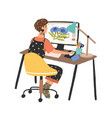 woman freelance graphic designer working use vector image vector image