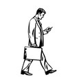 young businessman walking with a suitcase and vector image