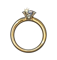 Golden engagement ring with a big shining diamond vector image
