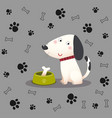a cartoon dog with bone in bowl vector image vector image