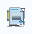 agreement contract deal document paper flat icon vector image