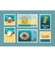 Beach entertainment stamp set Summer Vacation vector image vector image