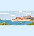 beautiful european town on summer sea coast vector image vector image