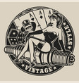 black-white with pin-up girl on a spark plug vector image vector image