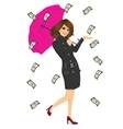 brunette woman holding big purple umbrella vector image