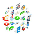 business model icons set isometric style vector image vector image