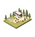 Campsite In Forest Isometric Design vector image vector image