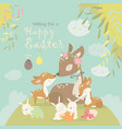 cartoon deer family with cute bunnies happy vector image