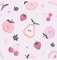 cartoon seamless pattern in pastel pink summer vector image vector image