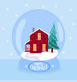 christmas snow globe with scandinavian red house vector image