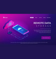 cloud connection isometric 3d landing page vector image vector image