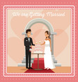 colorful gretting card with couple scene of cake vector image vector image