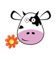 cow head with a flower vector image vector image