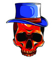 cowboy skull wearing a stylish brown fedora hat vector image vector image