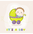 cute baboy in a carriage - bashower vector image