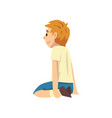 cute boy sitting on floor on her knees little vector image vector image
