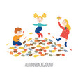 cute happy children playing outdoors and gathering vector image vector image