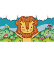 cute lion in the forest cartoon vector image vector image