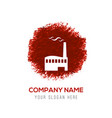 factory icon - red watercolor circle splash vector image