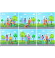 family parents in city kids vector image vector image