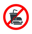 fast food not allowed drinking and eating vector image