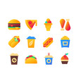 fast food - set of flat design style icons vector image