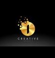 golden metal letter i logo i letter design vector image