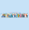 group people multinational wearing face mask vector image