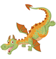 Happy cartoon dragon flying vector image vector image