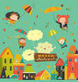 happy kids flying with umbrellas under the city vector image