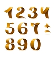 Isolated shiny golden ribbon numbers on white vector image