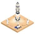 isometric rocket take-off or landing on mars mars vector image vector image