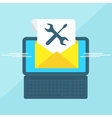 laptop with envelope tools vector image vector image
