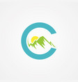letter c with mountain graphic in flat style with vector image vector image