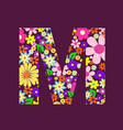 letter of beautiful flowers m vector image
