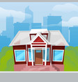 little country house with big blue windows on vector image